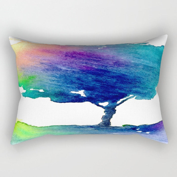 Decorative Pillow Cover - Vibrant Rainbow Tree Painting - Woodland Decor - Throw Pillow Cushion - Brazen Design Studio