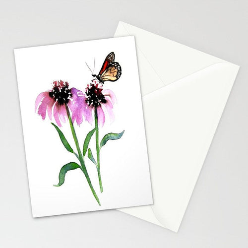 Greeting Card - Monarch Butterfly with Echinacea Watercolour and Sumi-e - Reproduction Art Card - Brazen Design Studio