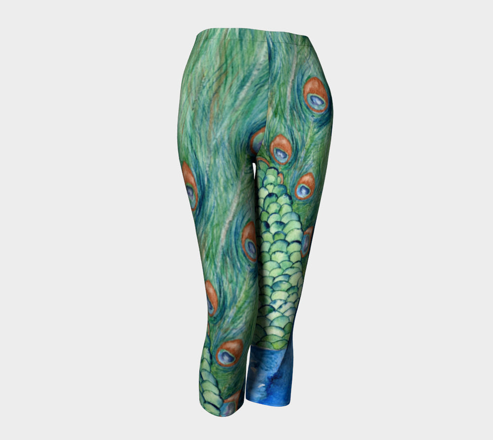 Designer Clothing - Peacock Painting - Artistic All Over Printed Leggings - Brazen Design Studio