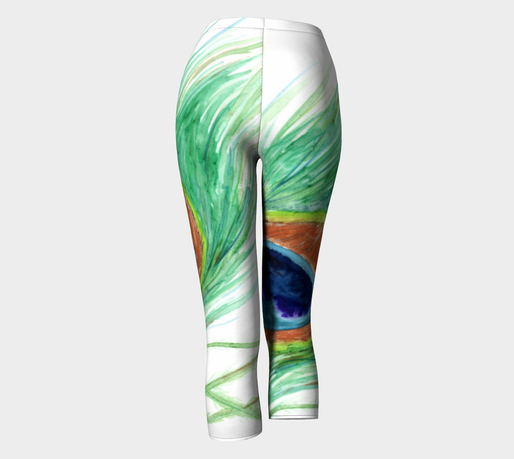 Designer Clothing - Peacock Feather Painting - Artistic All Over Printed Leggings - Brazen Design Studio
