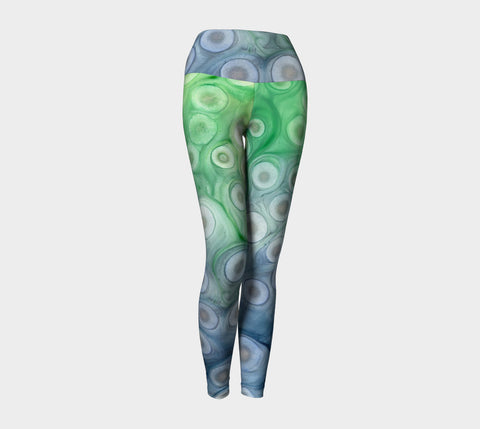 Designer Clothing -  Abstract Iridescent Watercolor Painting - Artistic All Over Printed Leggings - Brazen Design Studio