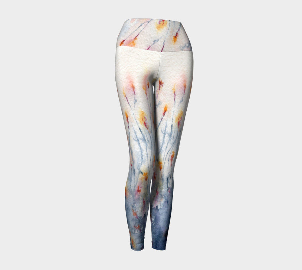 Floral Designer Clothing - Wildflowers Painting - Artistic All Over Printed Leggings - Brazen Design Studio