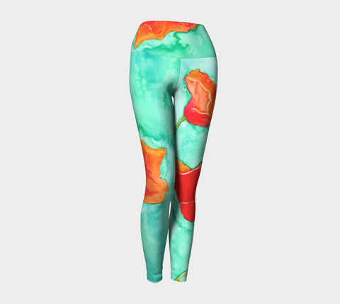 Designer Clothing - Red Poppy Painting - Artistic All Over Printed Leggings - Brazen Design Studio