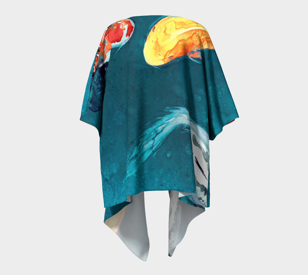 Draped Kimono - Koi Fish Watercolour Painting - Designer Clothing - Brazen Design Studio