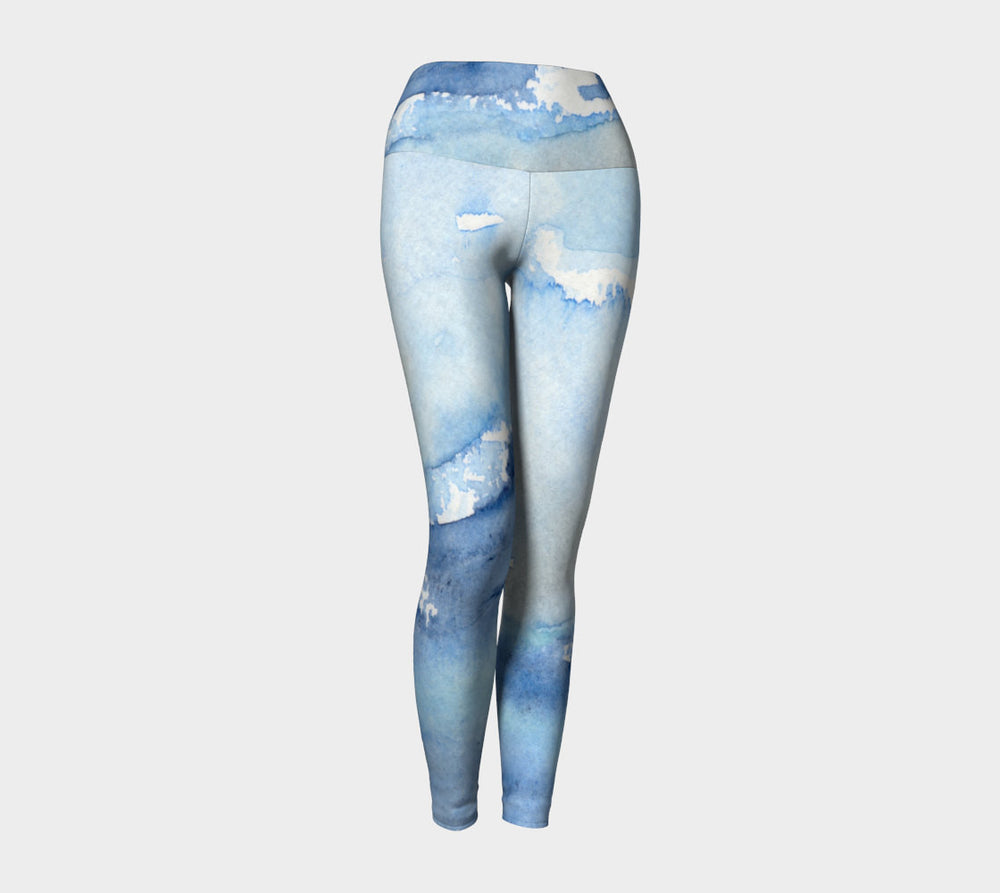 Designer Clothing - Ocean Wave Painting - Artistic All Over Printed Leggings - Brazen Design Studio
