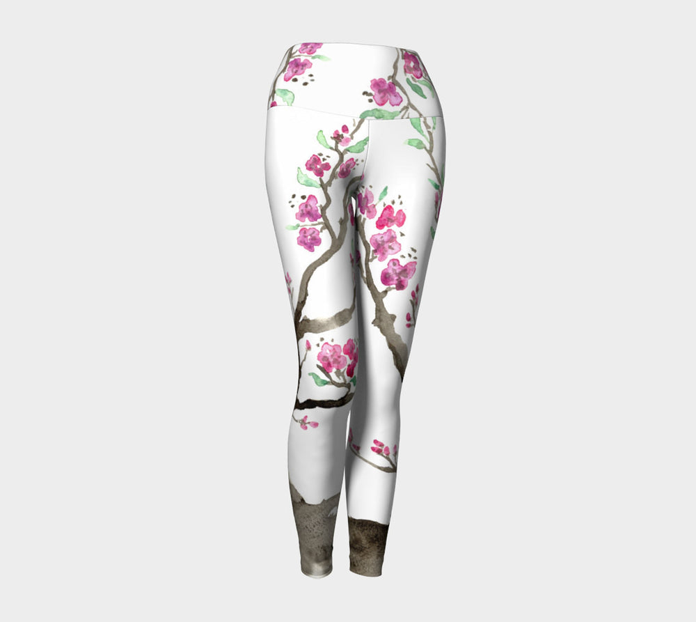 Designer Clothing - Sakura Tree Painting - Artistic All Over Printed Leggings - Brazen Design Studio