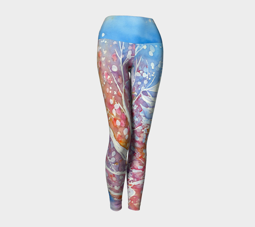 Designer Clothing - Cherry Blossom Painting - Artistic All Over Printed Leggings - Brazen Design Studio