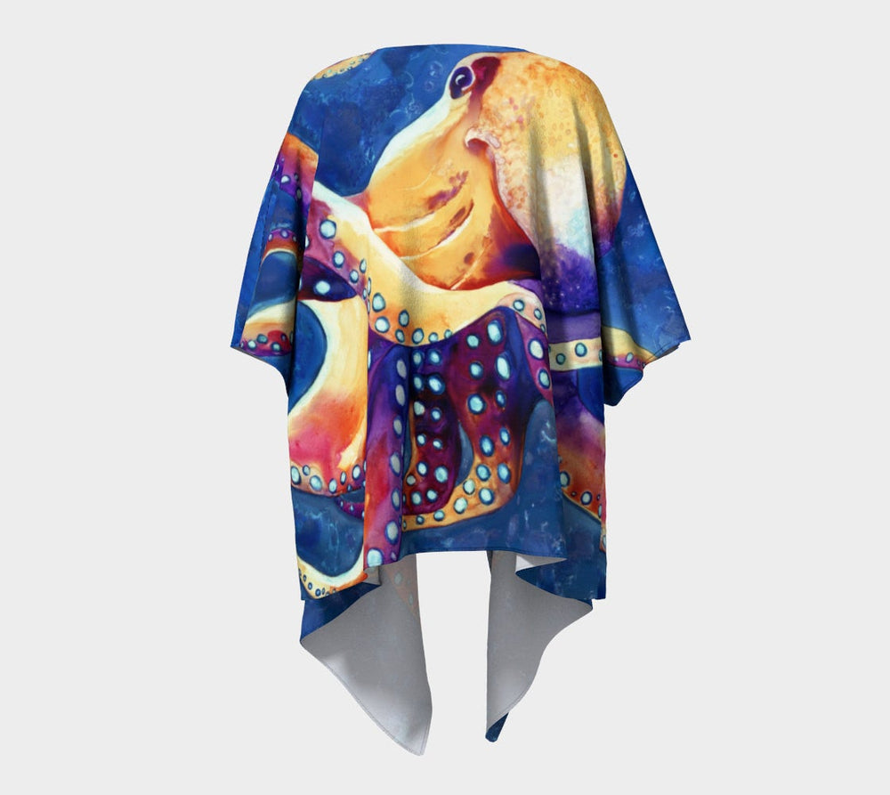 Draped Kimono - Octopus Watercolour Painting - Designer Clothing - Brazen Design Studio