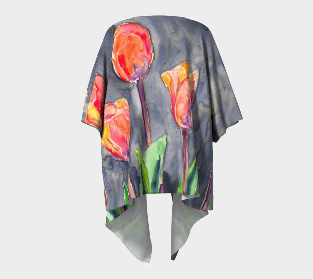 Draped Kimono - Tulips Watercolour Painting - Designer Clothing