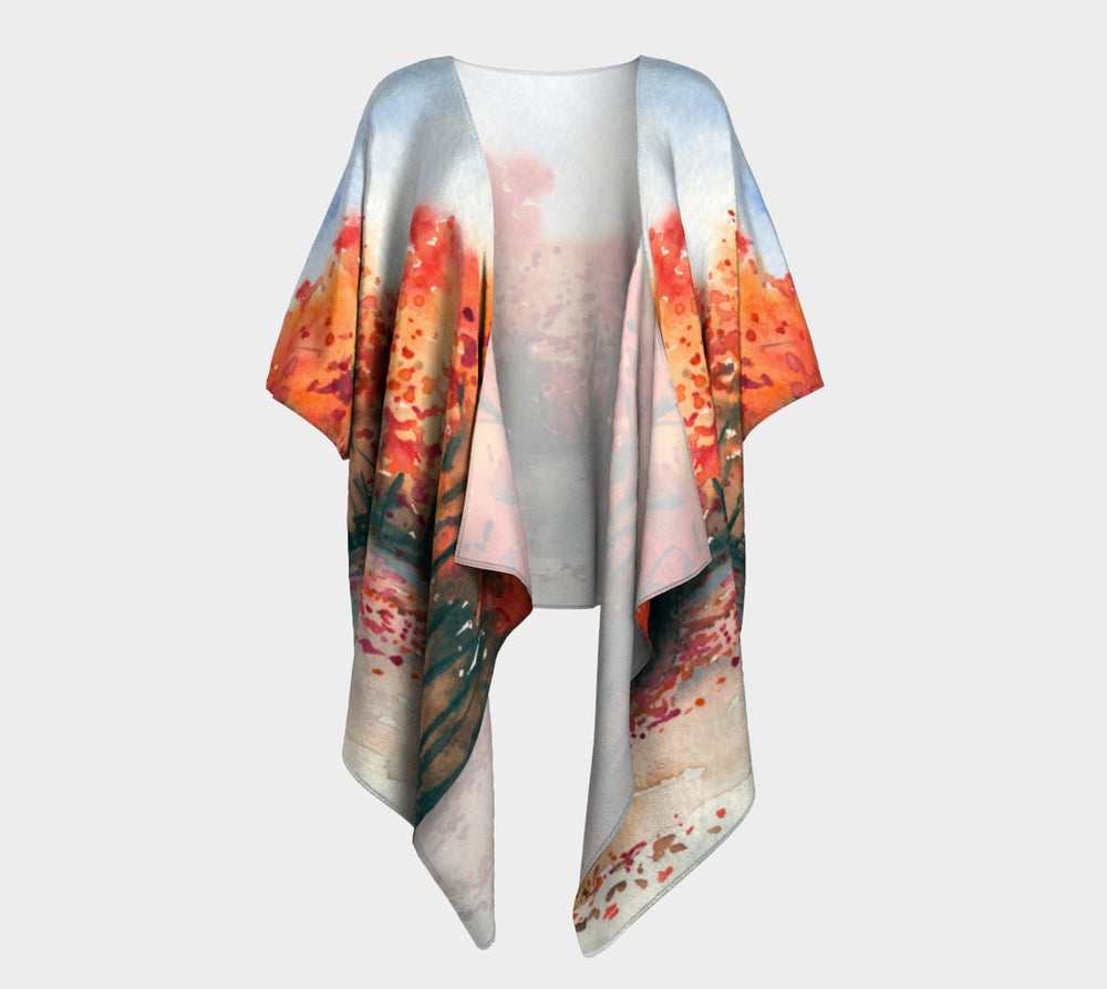 Draped Kimono - Autumn Landscape Watercolour Painting - Designer Clothing - Brazen Design Studio