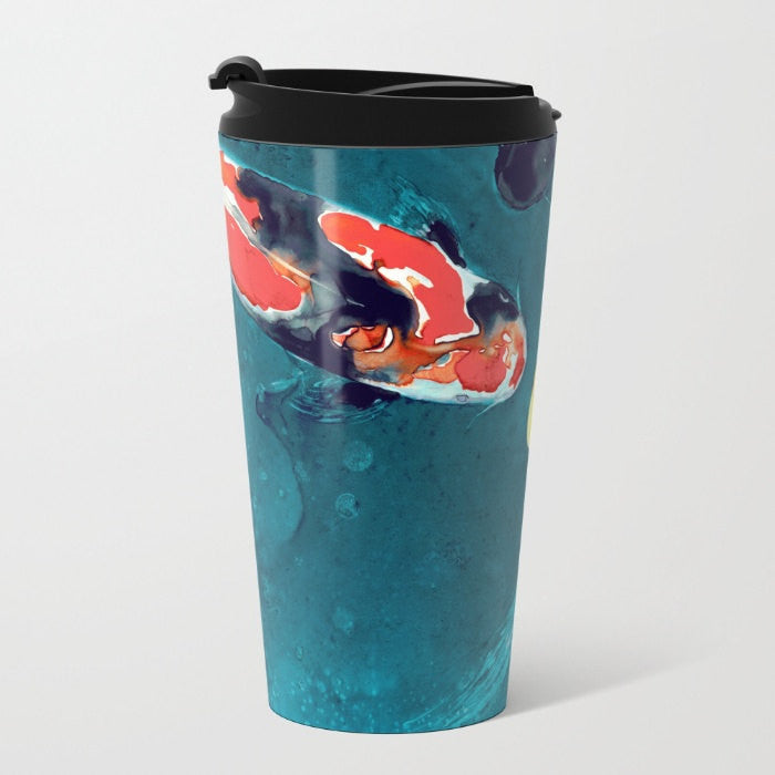 Travel Mug - Ceramic or Metal Coffee Cup - Koi Painting - Artistic Hot Cold 12 or 15oz Beverage Mug - Brazen Design Studio