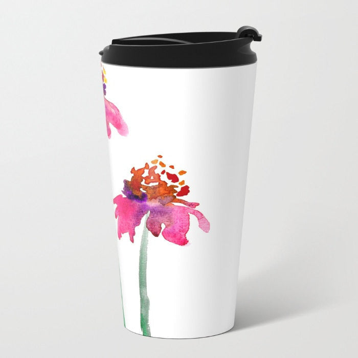 Travel Mug - Ceramic or Metal Coffee Cup - Echinacea Watercolor Painting - Artistic Hot Cold 12 or 15oz Beverage Mug - Brazen Design Studio
