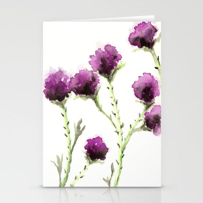 Greeting Card - Mauve Milk Thistle Floral Sumi-e - Brazen Design Studio