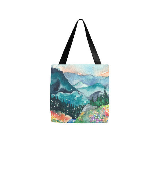 Art Tote Bag - Valley of Dreams Landscape Watercolor Painting - Shopping Bag