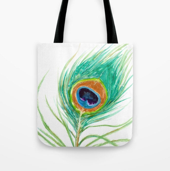 Art Tote Bag - Peacock Feather Watercolor Painting - Shopping Bag