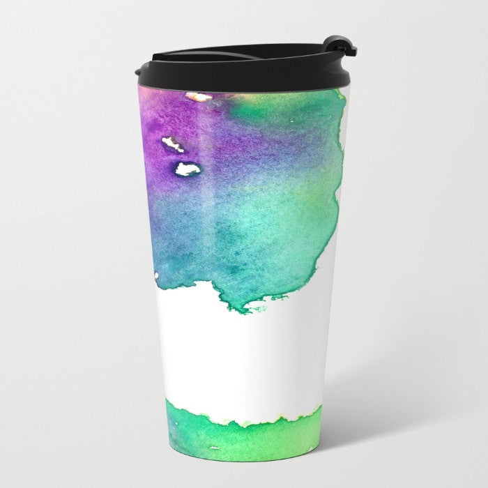 Travel Mug - Ceramic or Metal Coffee Cup - Hue Tree Watercolor Painting - Artistic Hot Cold 12 or 15oz Beverage Mug - Brazen Design Studio
