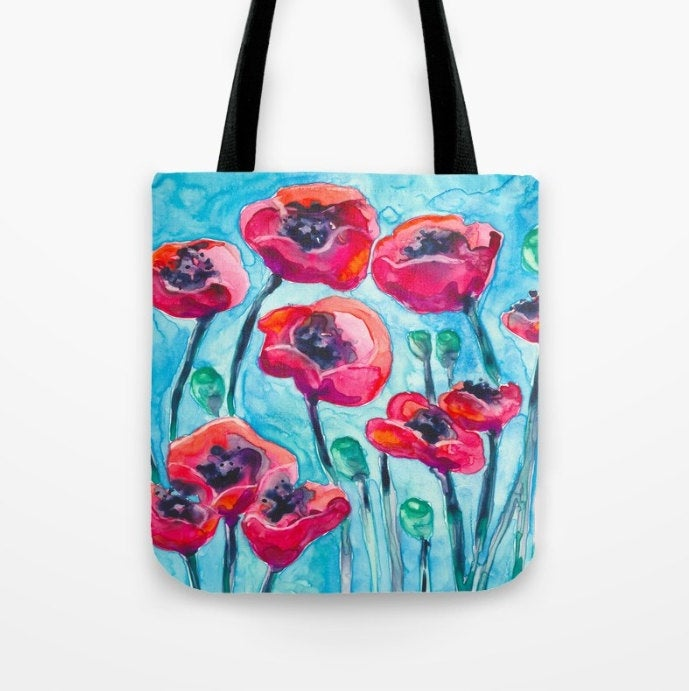 Art Tote Bag - Red Poppies Watercolor Painting - Shopping Bag