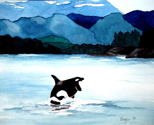 Watercolor Painting - Orca Art Print - Killer Whale Wildlife Seascape - Brazen Design Studio