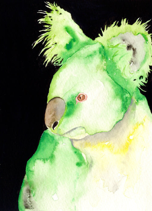 Watercolor Painting - Green Koala Contemporary Australia Wildlife Pop Art Print - Brazen Design Studio