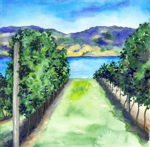 Watercolor Landscape Painting - Between the Vines - Winery Vineyard Scenic Art Print - Brazen Design Studio