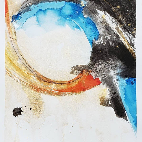 Original Watercolour Mountain Painting on Paper - Gold Abstract Art