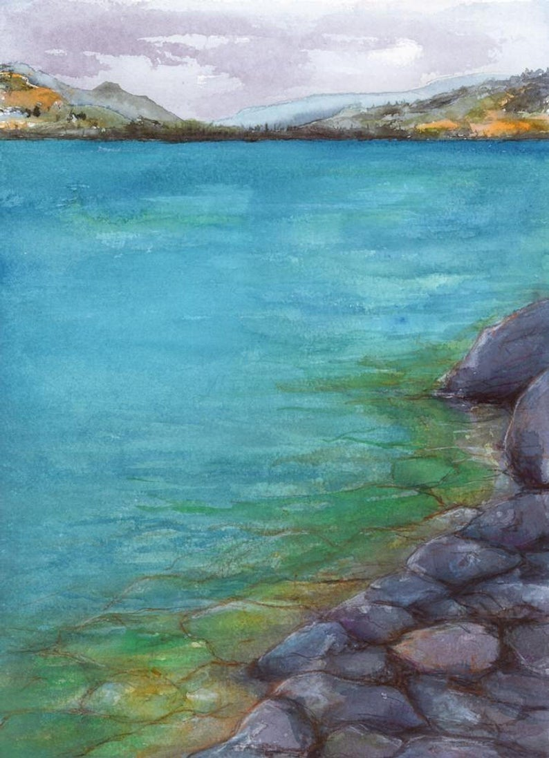 Kalamalka Lake - Okanagan Watercolor Landscape Painting - Scenic Art Print