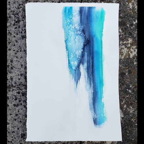 Original Abstract Watercolour Painting on Paper Brushstrokes Ocean Inspired Art