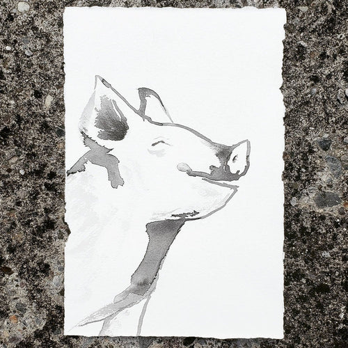 Original Piglet Ink Painting on Paper - Sumi-e Art