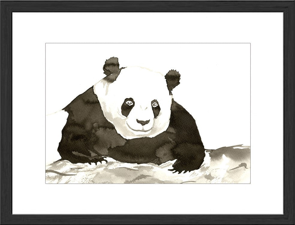 Minimalist Original Ink Painting - Giant Panda Bear Wildlife Sumi-e - Brazen Design Studio