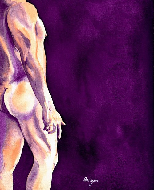Temptation Nude Male Figurative - Watercolor Painting Art Print - Brazen Design Studio