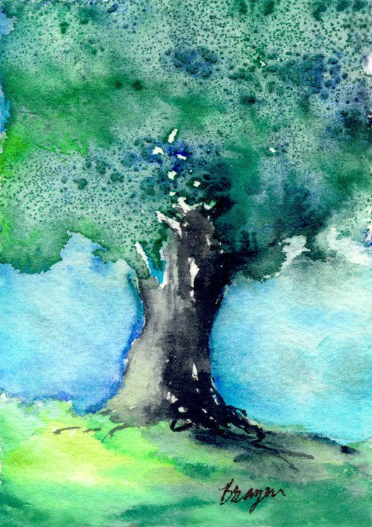 Woodland Oak Tree Watercolor Painting Art Print - Brazen Design Studio