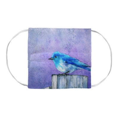 Bluebird Painting - Washable Reusable Fabric Face Mask