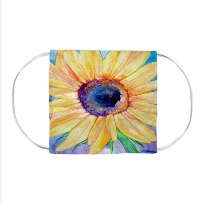 Sunflower Watercolour Painting - Washable Reusable Fabric Face Mask