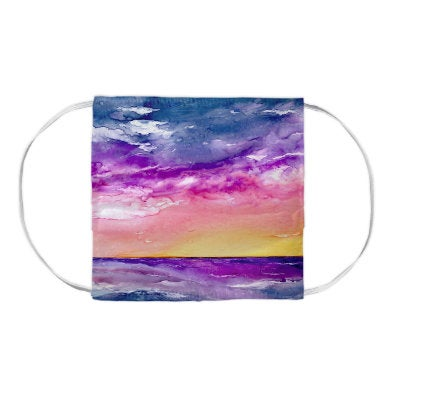Tormenta Seascape Watercolour Painting - Washable Reusable Fabric Face Mask