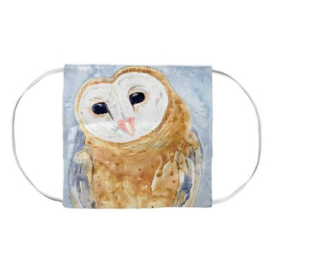 Barn Owl Guardian Bird Watercolour Painting - Washable Reusable Fabric Face Mask
