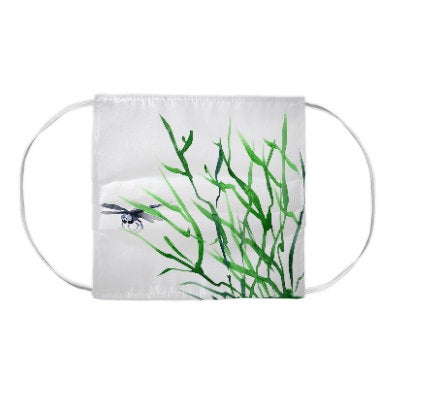 Dragonfly Tall Grass Watercolour Painting - Washable Reusable Fabric Face Mask