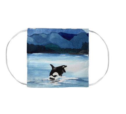 Orca Killer Whale Wildlife Watercolour Painting - Washable Reusable Fabric Face Mask