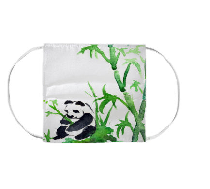 Panda Bamboo Wildlife Watercolour Painting - Washable Reusable Fabric Face Mask