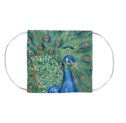 Peacock Bird Wildlife Watercolour Painting - Washable Reusable Fabric Face Mask