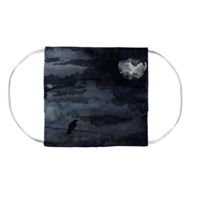 Moonlit Raven Black Bird Wildlife Watercolour Painting - Washable Reusable Fabric Face Mask