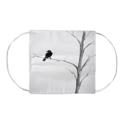 Raven in a Tree Black Bird Wildlife Painting - Washable Reusable Fabric Face Mask