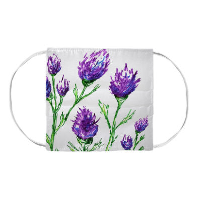 Purple Clover Floral Watercolour Painting - Washable Reusable Fabric Face Mask