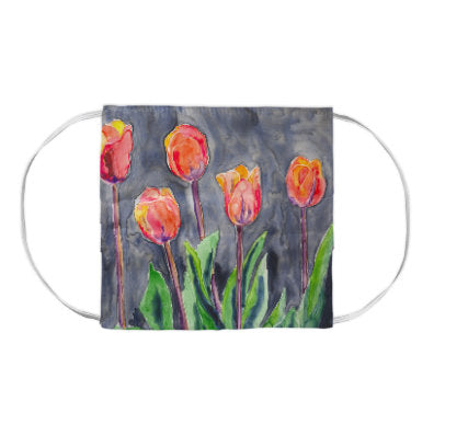 Orange Tulips Floral Watercolour Painting - Washable Reusable Fabric Face Mask