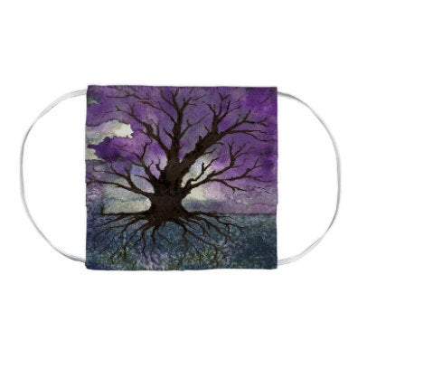 Tree of Life Watercolour Painting - Washable Reusable Fabric Face Mask