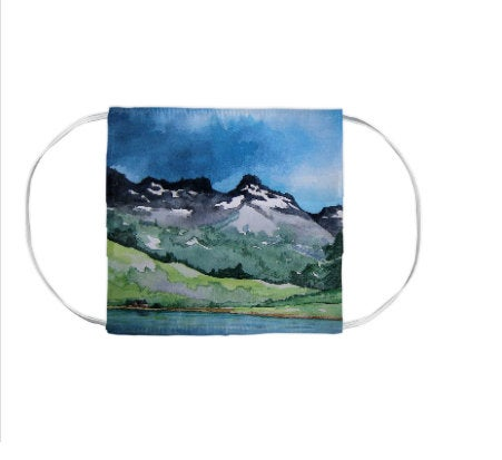 Serenity Mountains Landscape Watercolour Painting - Washable Reusable Fabric Face Mask