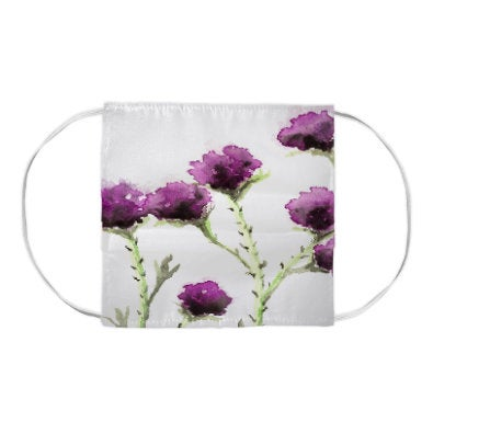 Milk Thistle Floral Watercolour Painting - Washable Reusable Fabric Face Mask