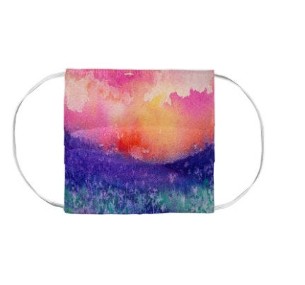 Lupin Valley Landscape Watercolour Painting - Washable Reusable Fabric Face Mask