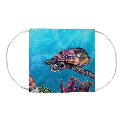 Sea Turtle Watercolour Painting - Washable Reusable Fabric Face Mask