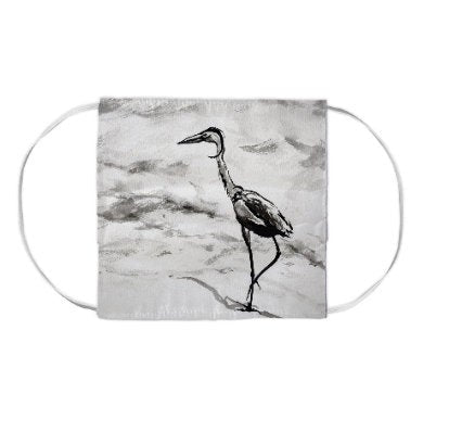Crane Bird Heron Watercolour Painting - Washable Reusable Fabric Face Mask