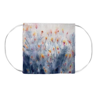 Wildflowers Floral Watercolour Painting - Washable Reusable Fabric Face Mask
